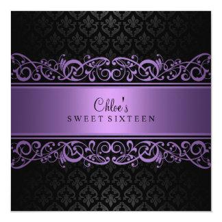 Sweet 16 | Purple & Black Damask Invitation