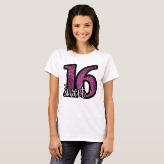 Sweet 16 Purple Faux Glitter Birthday Text T-Shirt