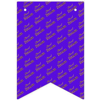 Sweet 16 Purple Gold Typography Pattern Elegant Bunting