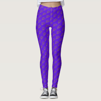 Sweet 16 Purple Gold Typography Pattern Elegant Leggings