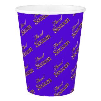 Sweet 16 Purple Gold Typography Pattern Elegant Paper Cup