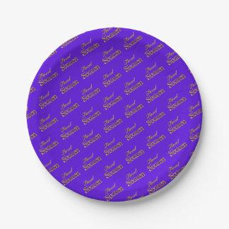 Sweet 16 Purple Gold Typography Pattern Elegant Paper Plate