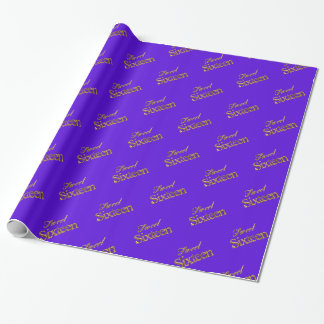 Sweet 16 Purple Gold Typography Pattern Elegant Wrapping Paper