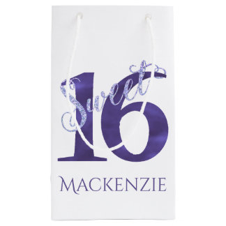 Sweet 16 Purple | Watercolor 16th Birthday Party Small Gift Bag