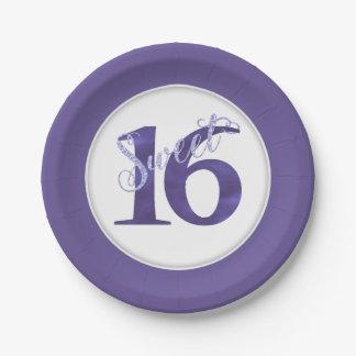 Sweet 16 Purple | Watercolor Violet 16th Birthday Paper Plate