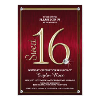 Sweet 16 Red/Gold Metallic Look Party Invitations