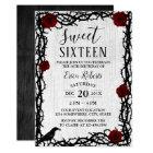 Sweet 16 Red Rose & Thorn Elegant Fairytale Rustic Card
