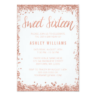 Sweet 16 Rose Gold Faux Glitter Birthday Party 13 Cm X 18 Cm Invitation Card