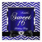 Sweet 16 Royal Blue Chevron Stripe Silver Black Card