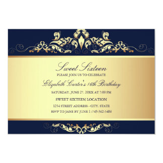 Sweet 16 | Royal Blue & Gold Damask Invitation