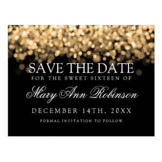 Sweet 16 Save The Date Shimmering Gold Lights Postcard
