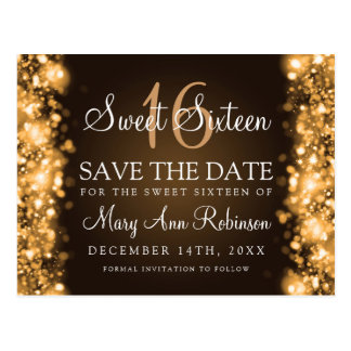 "Sweet 16 ""Save The Date"" Sparkling Lights Gold Postcard"