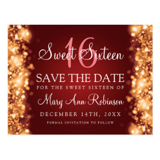 "Sweet 16 ""Save The Date"" Sparkling Lights Gold Red Postcard"
