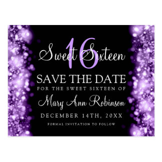"Sweet 16 ""Save The Date"" Sparkling Lights Purple Postcard"