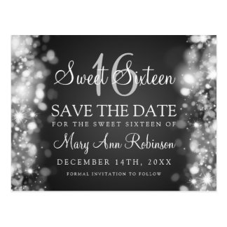 "Sweet 16 ""Save The Date"" Sparkling Lights Silver Postcard"