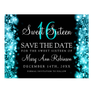 "Sweet 16 ""Save The Date"" Sparkling Lights Turquois Postcard"