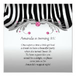 Sweet 16 Silver Black Zebra FAUX Pink Jewels Bling Personalised Announcement