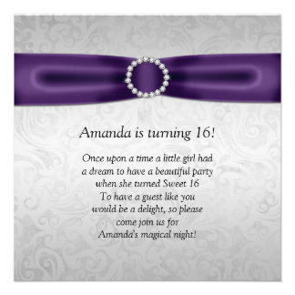 Sweet 16 Silver Damask Purple Ribbon Diamonds Personalised Announcements