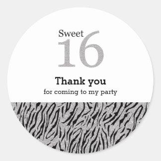 Sweet 16 silver glitter classic round sticker