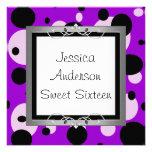 Sweet 16 Silver Purple Black White Spots Frame Personalized Invite