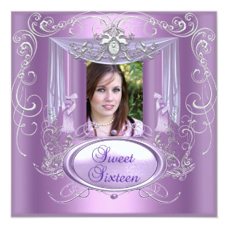 Sweet 16 Sixteen Birthday Party Lilac Pink Silver Personalized Announcements