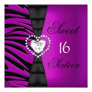 Sweet 16 Sixteen Birthday Party Pink Plum Zebra Card