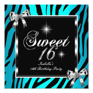 Sweet 16 Sixteen Birthday Party Teal Zebra Bow 2 13 Cm X 13 Cm Square Invitation Card