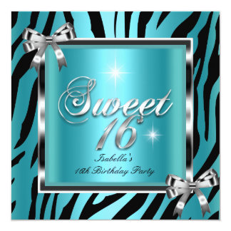Sweet 16 Sixteen Birthday Party Teal Zebra Bow 13 Cm X 13 Cm Square Invitation Card