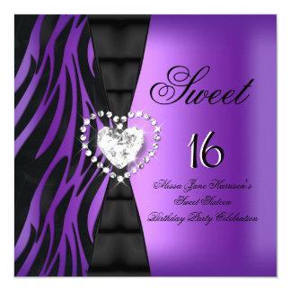 Sweet 16 Sixteen Birthday Party Zebra Purple Card