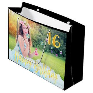 Sweet 16 sixteen custom photo large gift bag black