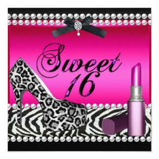 Sweet 16 Sixteen Hot Pink Lipstick Zebra Leopard Card