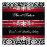 Sweet 16 Sixteen Leopard Red Black Diamond 2 5.25x5.25 Square Paper Invitation Card