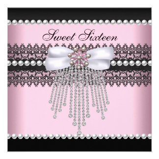 Sweet 16 Sixteen Pink Black Pearl Lace Diamond Personalized Announcements