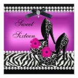 "Sweet 16 Sixteen Pink Black Zebra Leopard 5.25"" Square Invitation Card"