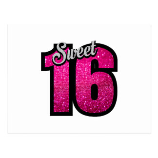 Sweet 16 sixteen pink glitter birthday party girl postcard