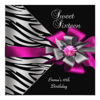 Sweet 16 Sixteen Pink Silver Zebra Black Grey Bow Card