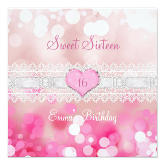 Sweet 16 Sixteen Pink White Lace Birthday Party Card