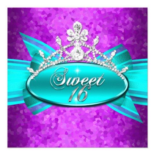 Sweet 16 Sixteen Teal Blue Purple Diamonds Image Custom Invite