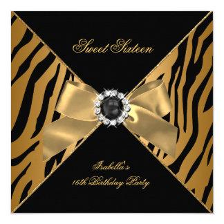 Sweet 16 Sixteen Zebra Black Gold Birthday Party 5.25x5.25 Square Paper Invitation Card