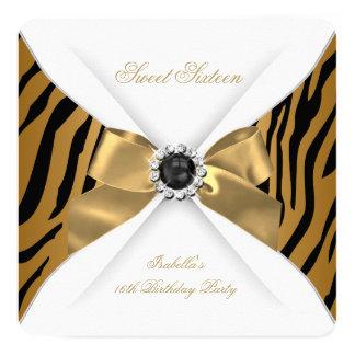 Sweet 16 Sixteen Zebra Bronze Gold Birthday Party 5.25x5.25 Square Paper Invitation Card