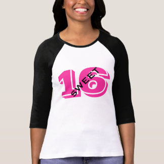 Sweet 16 Sixteenth Birthday Hot Pink and Black T-Shirt