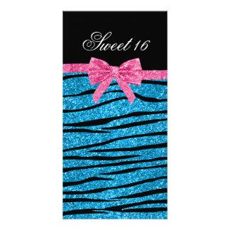 Sweet 16 sky blue glitter zebra stripes photo greeting card