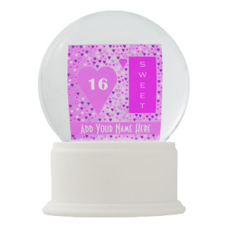 Sweet 16 Snow Globe Pink White Text Silver Hearts