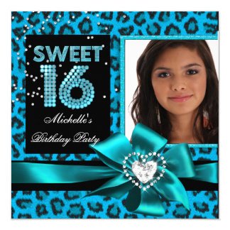 Sweet 16 Sweet Sixteen Blue Leopard Photo 13 Cm X 13 Cm Square Invitation Card