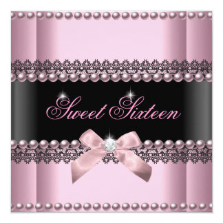 Sweet 16 Sweet Sixteen Pink Black Lace Pearl 13 Cm X 13 Cm Square Invitation Card