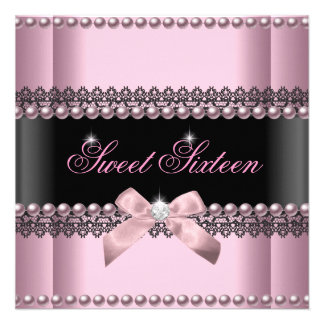 Sweet 16 Sweet Sixteen Pink Black Lace Pearl Personalized Invites