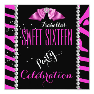 Sweet 16 Sweet Sixteen Pink Zebra Birthday Party 13 Cm X 13 Cm Square Invitation Card