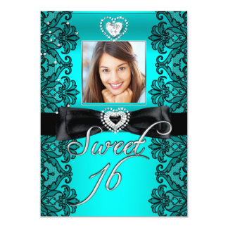 Sweet 16 Sweet Sixteen Teal Black Lace Photo Custom Invite