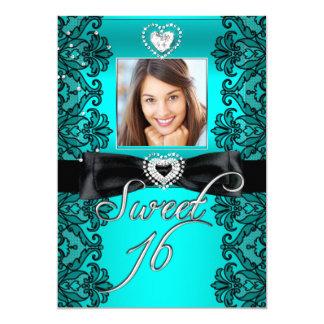 Sweet 16 Sweet Sixteen Teal Black Lace Photo 13 Cm X 18 Cm Invitation Card