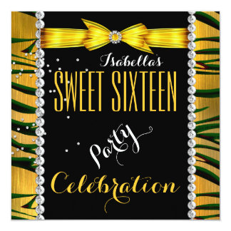 Sweet 16 Sweet Sixteen Zebra Yellow Birthday Party 13 Cm X 13 Cm Square Invitation Card